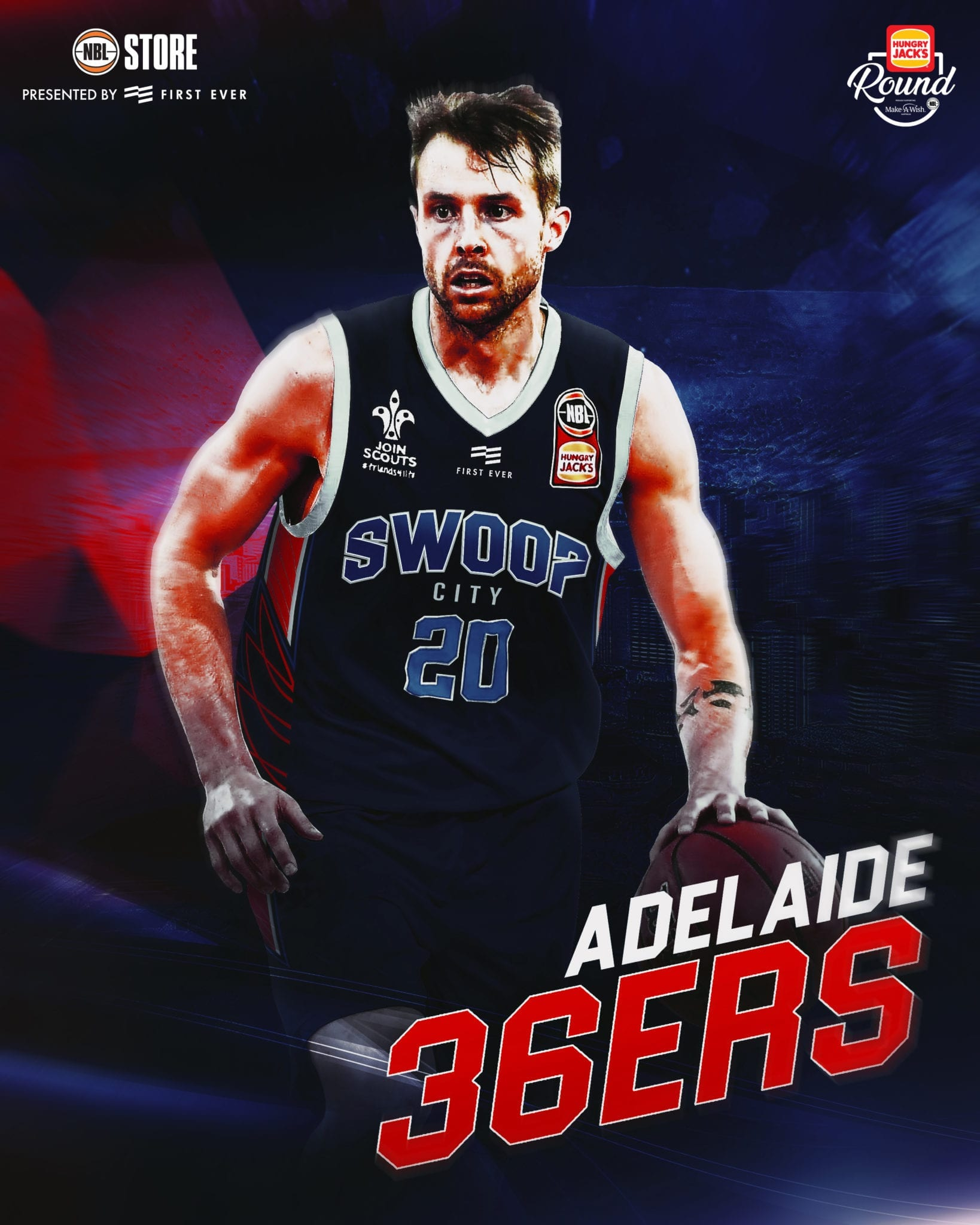 2db3a6793 ADELAIDE – The 36ers have plenty to shout about especially when it comes to  the Swoop City jersey. The shaped side panels represent the outline of  wings as ...