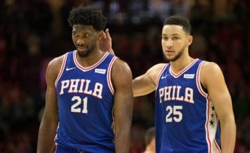 Joel Embiid and Ben Simmons playing.