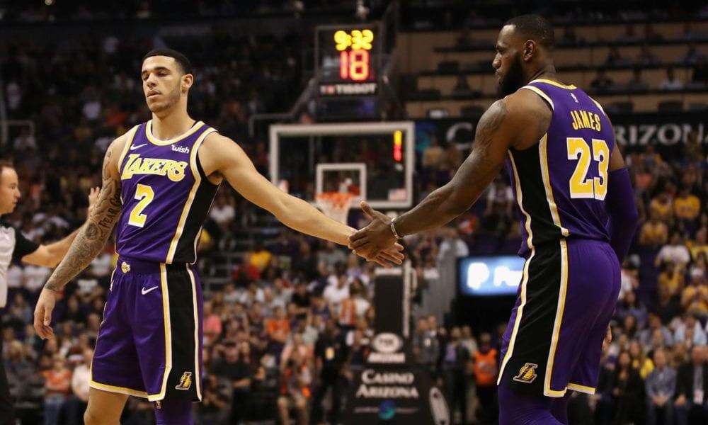 Lonzo Ball and LeBron James on-court