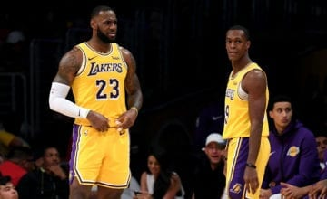 Rondo and LeBron on court