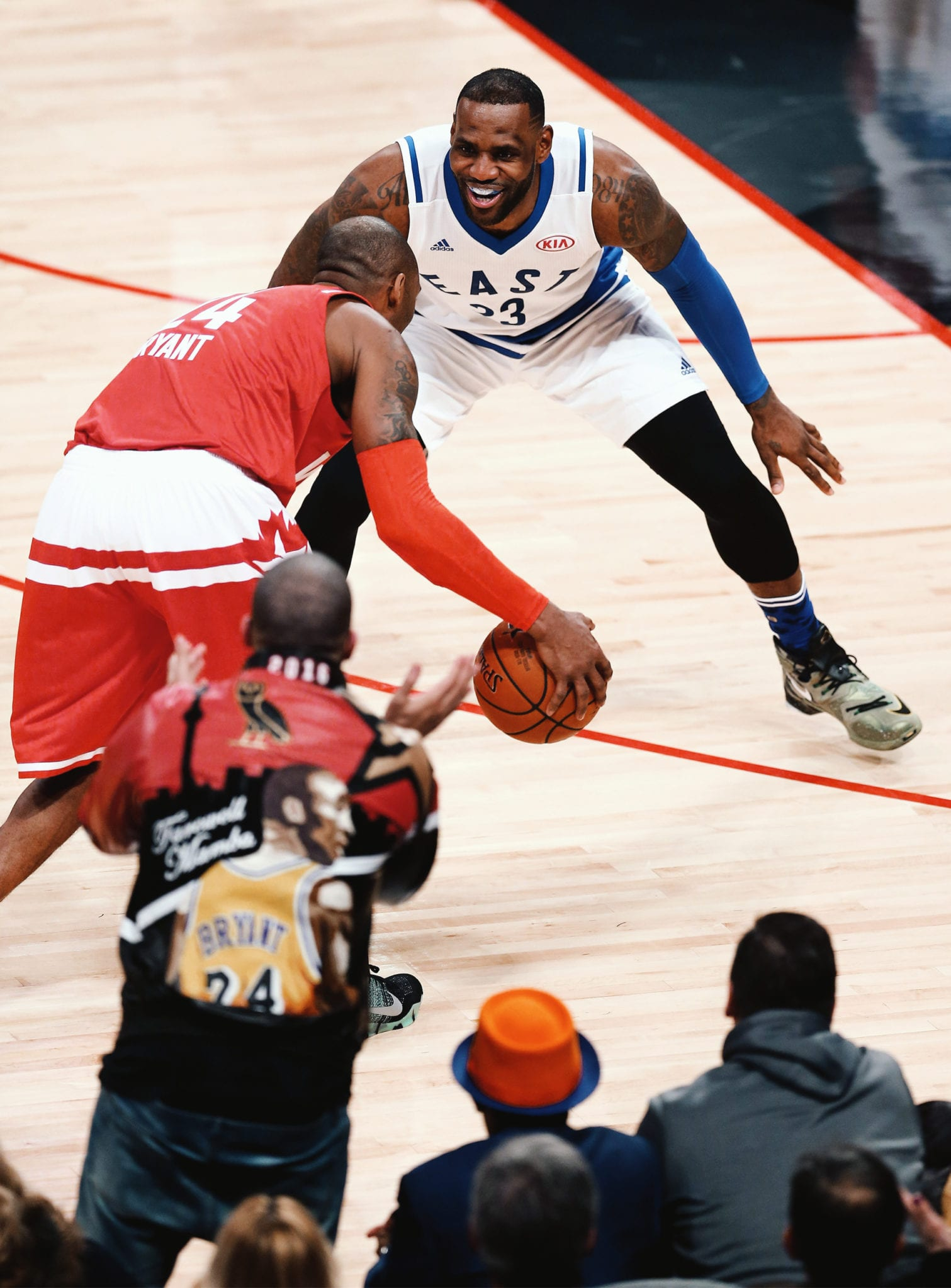 GOAT VS GOAT: LeBron James guards Kobe Bryant during Bryant's last ever All-Star Game (February 14, 2016).