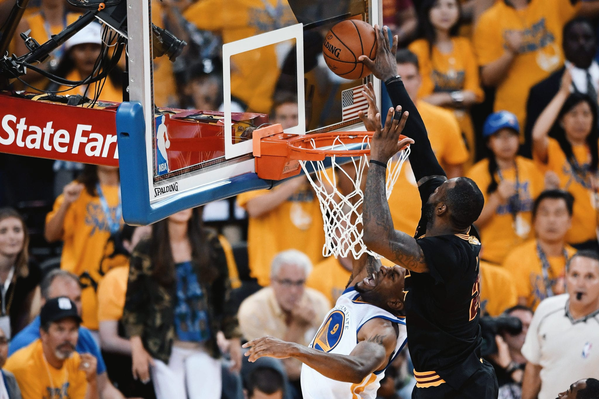 BLOCKED BY JAMES: LeBron James pulls off one of the shocking, athletic and iconic blocks of all-time to help close Game 7 of the 2016 NBA Finals (June 19, 2016).