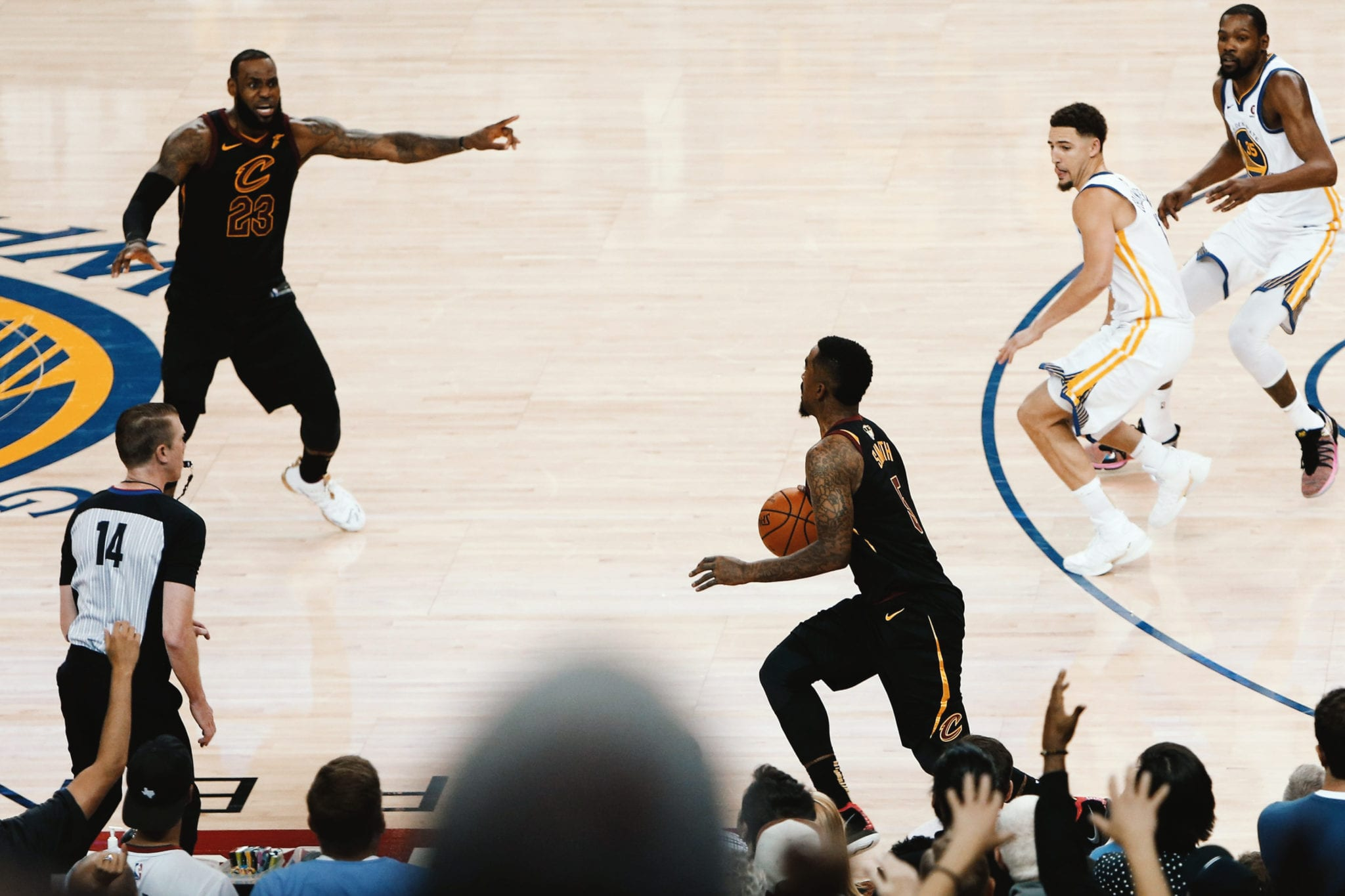 WRONG WAY: LeBron James watches his 51-point performance in Game 1 of the 2018 NBA Finals go up in flames as JR Smith inexplicably runs away from Cleveland's basket in the dying seconds of the game (May 31, 2018).